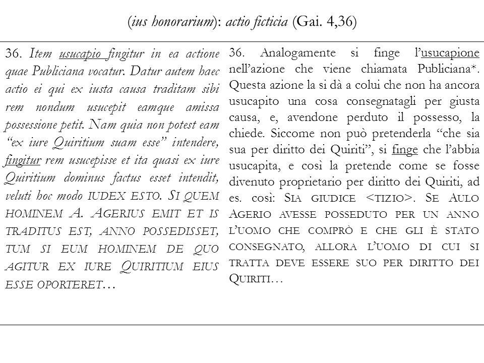 (ius honorarium): actio ficticia (Gai. 4,36)