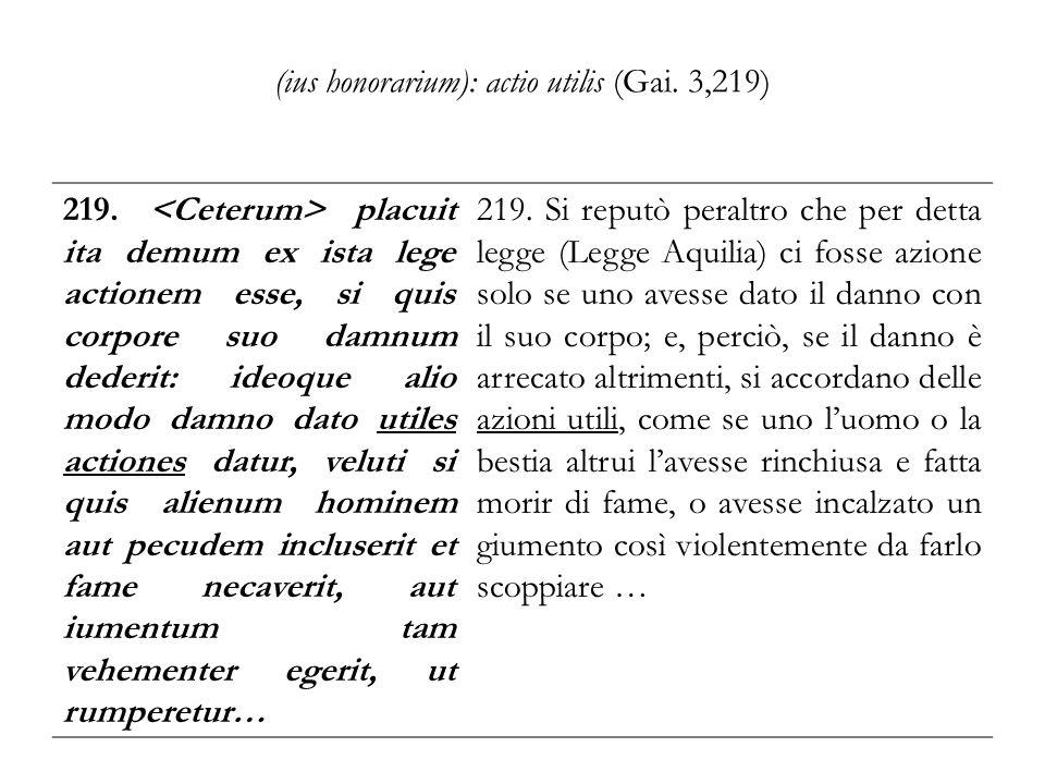 (ius honorarium): actio utilis (Gai. 3,219)