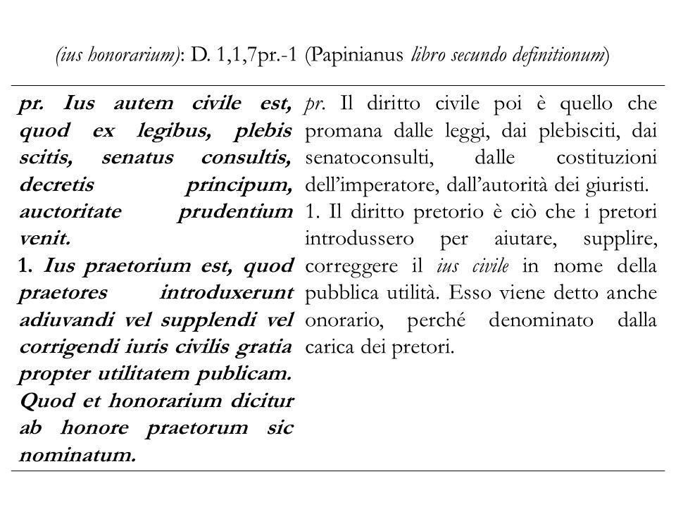 (ius honorarium): D. 1,1,7pr.-1 (Papinianus libro secundo definitionum)