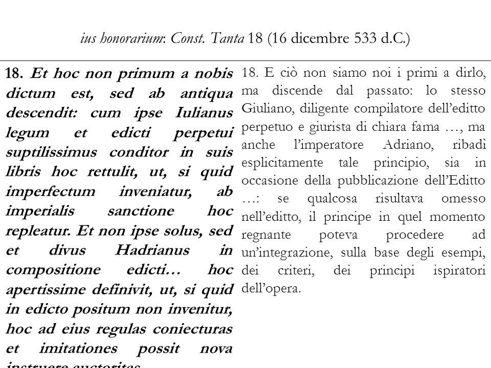 ius honorarium: Const. Tanta 18 (16 dicembre 533 d.C.)