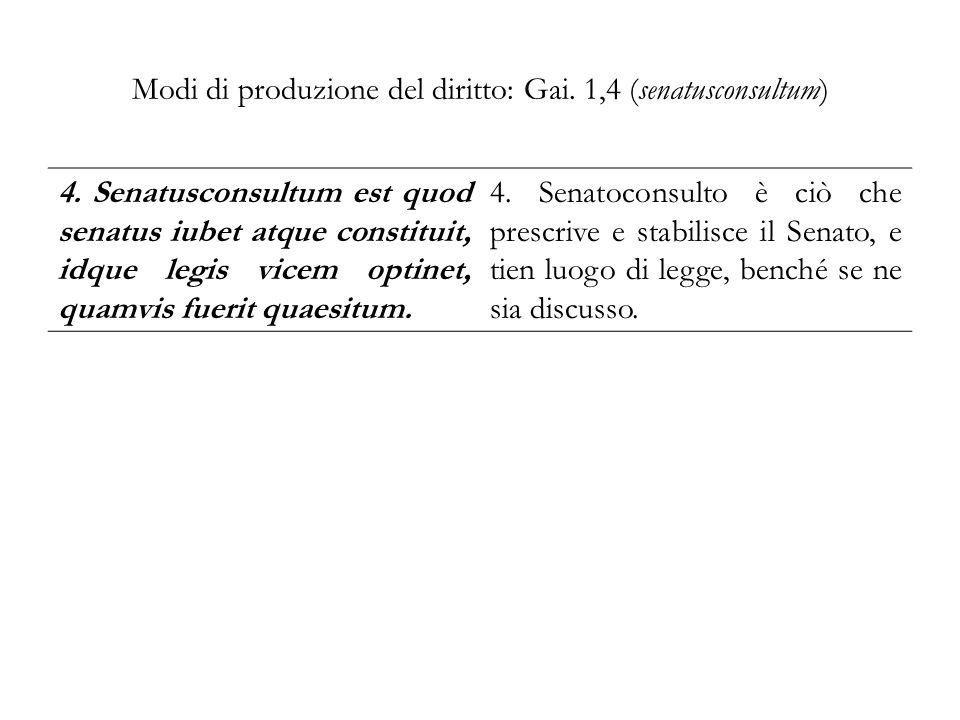 Modi di produzione del diritto: Gai. 1,4 (senatusconsultum)