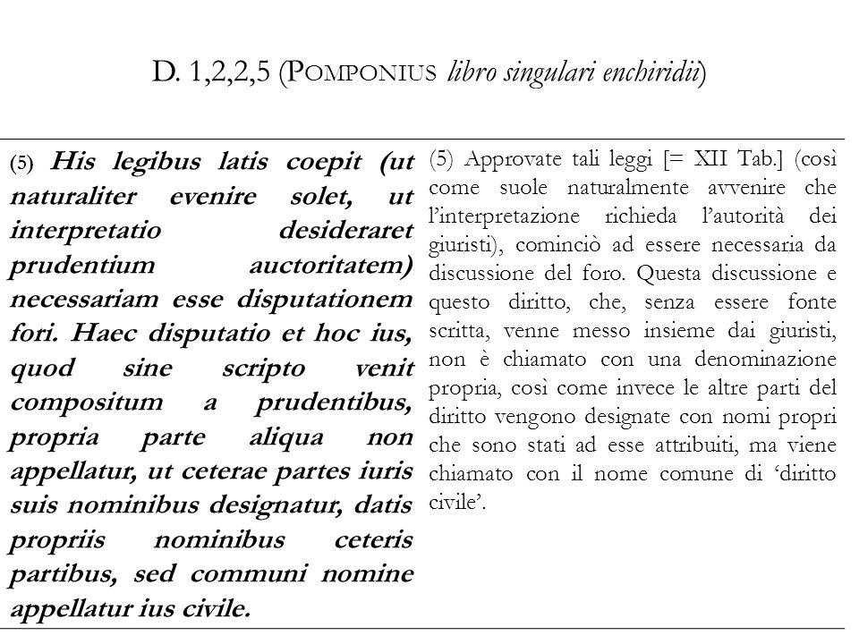 D. 1,2,2,5 (Pomponius libro singulari enchiridii)