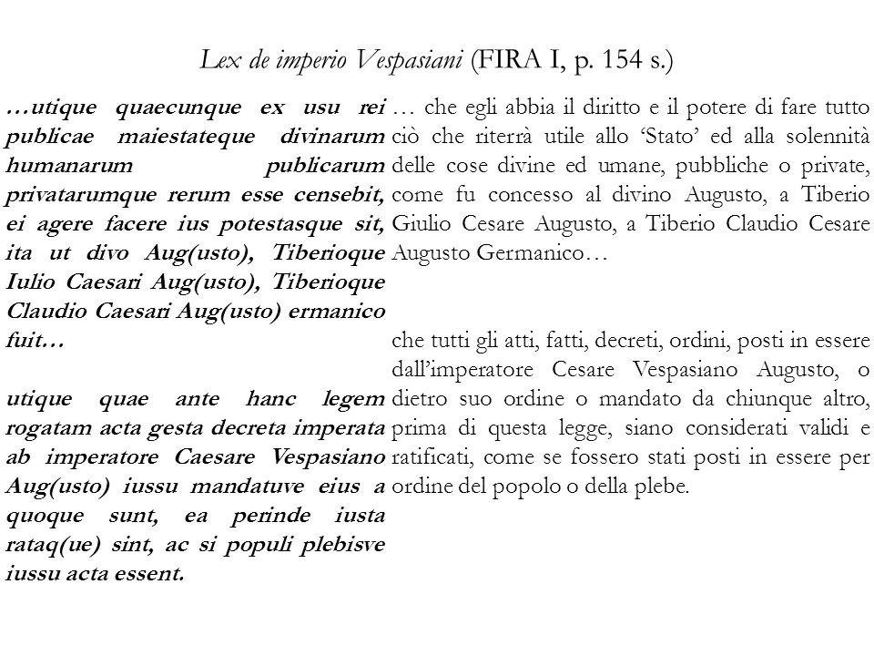 Lex de imperio Vespasiani (FIRA I, p. 154 s.)