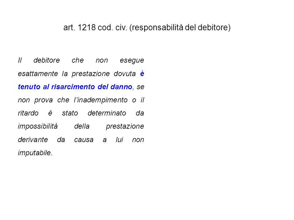 art. 1218 cod. civ. (responsabilità del debitore)