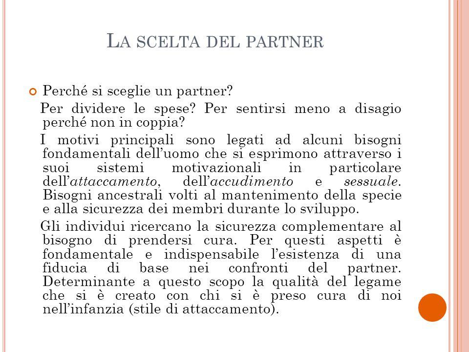 La scelta del partner Perché si sceglie un partner