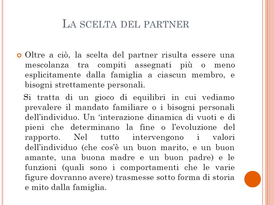 La scelta del partner