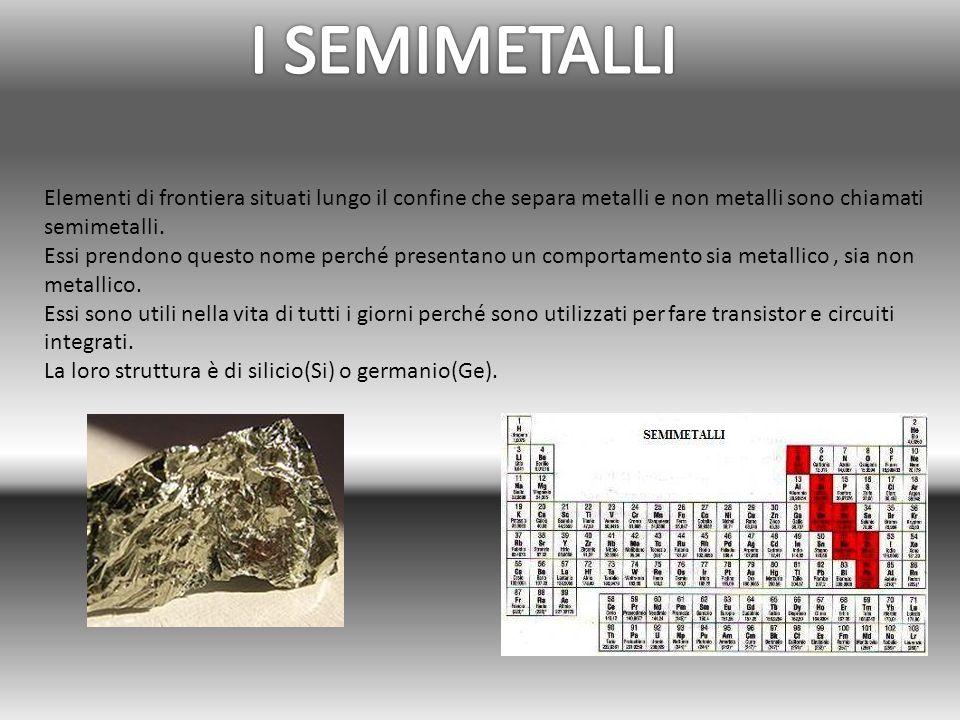 I SEMIMETALLI Elementi di frontiera situati lungo il confine che separa metalli e non metalli sono chiamati semimetalli.