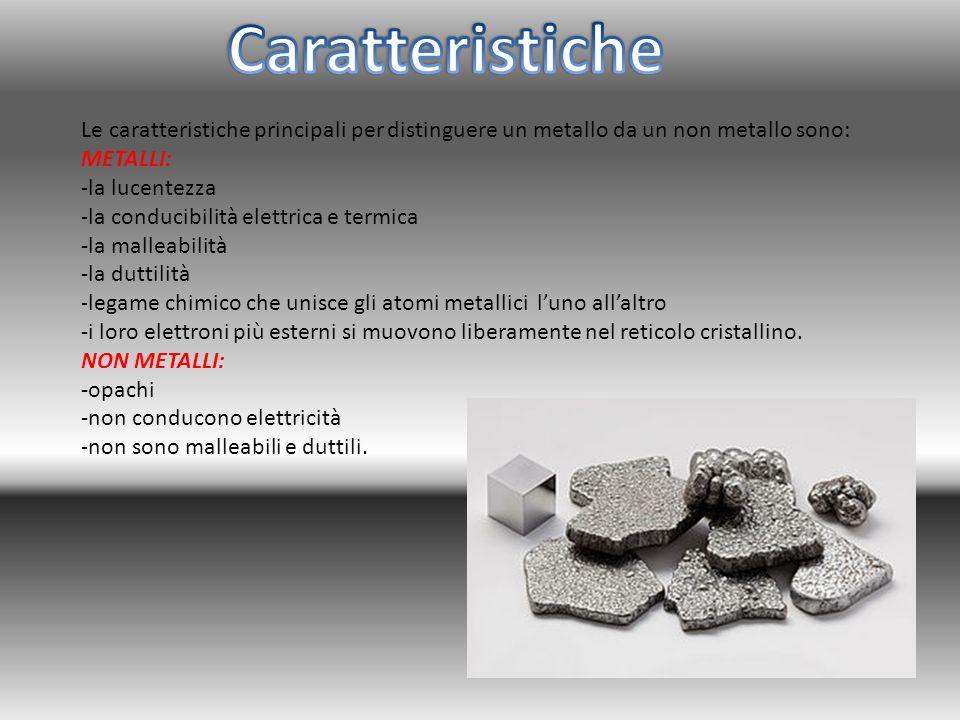 Caratteristiche Le caratteristiche principali per distinguere un metallo da un non metallo sono: METALLI: -la lucentezza.