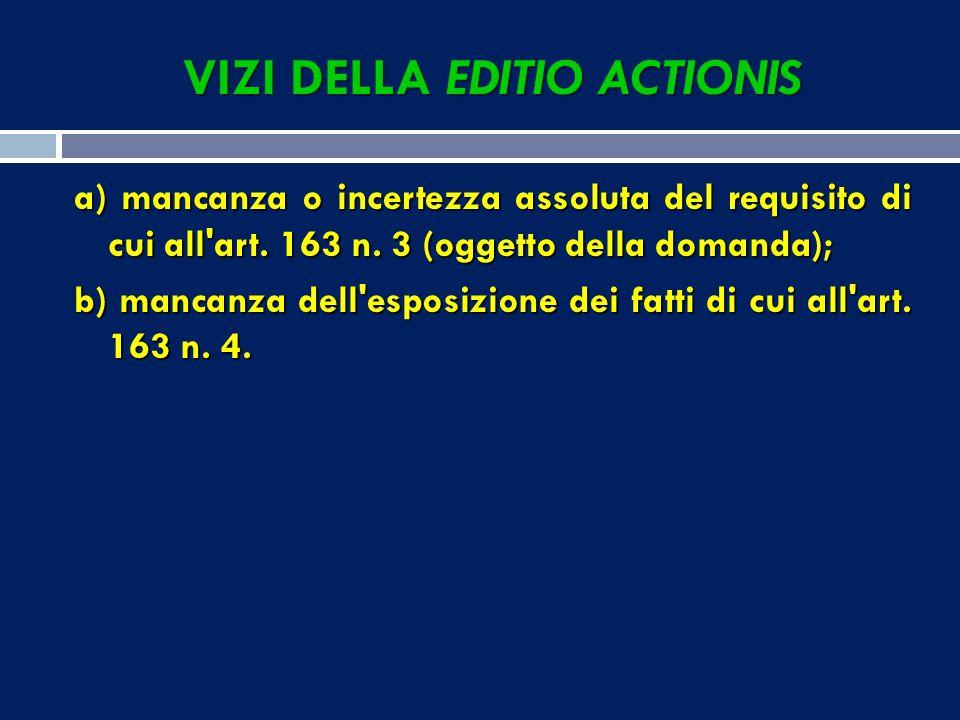 VIZI DELLA EDITIO ACTIONIS