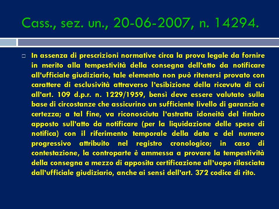 Cass., sez. un., 20-06-2007, n. 14294.