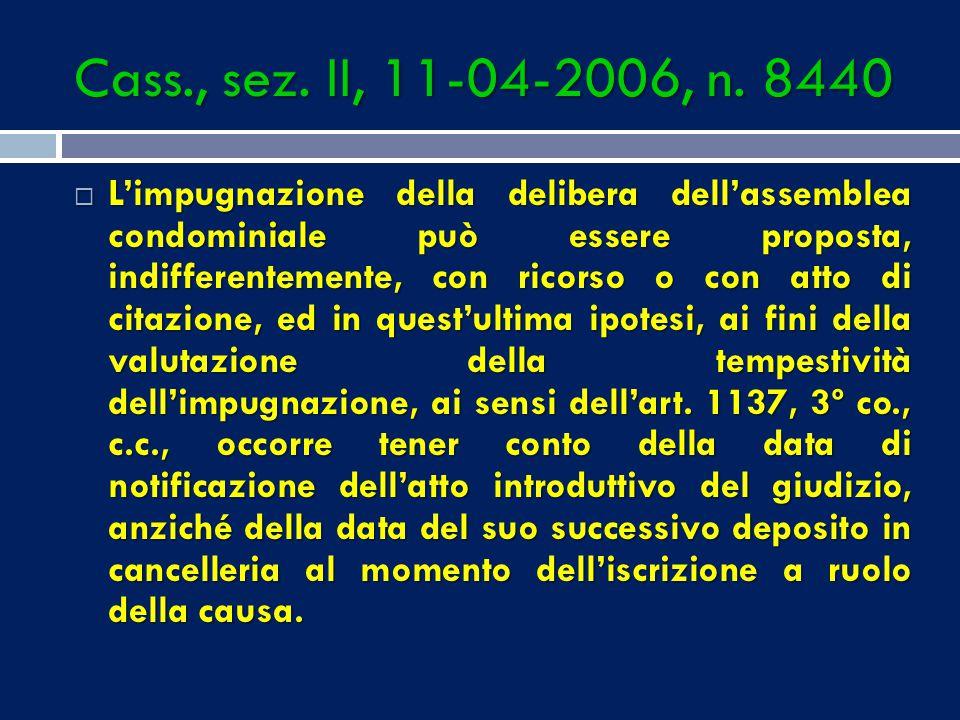 Cass., sez. II, 11-04-2006, n. 8440