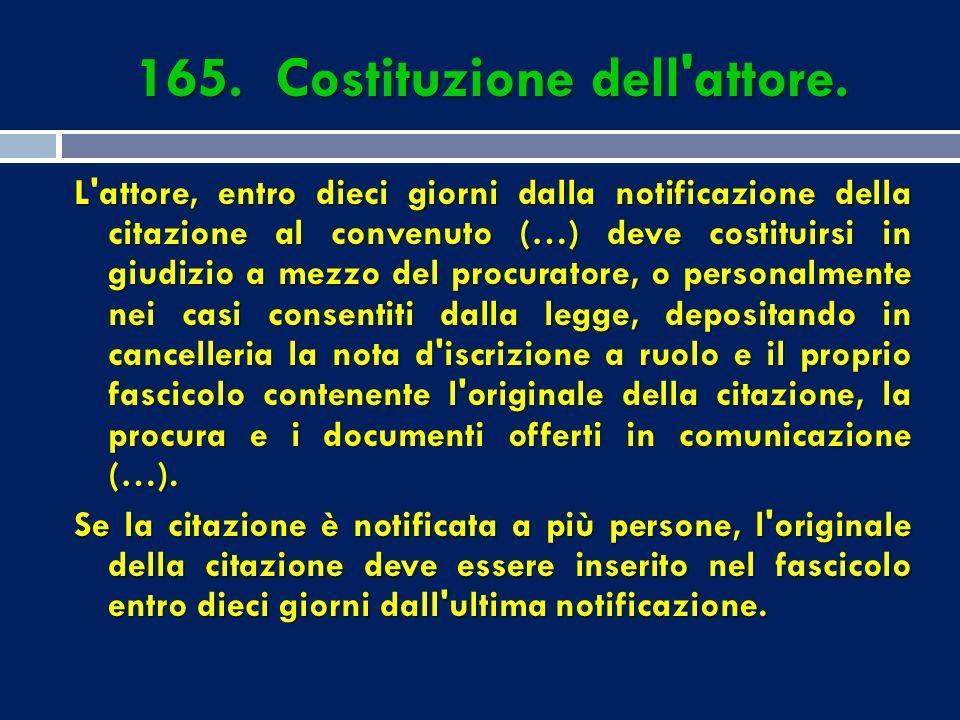 165. Costituzione dell attore.