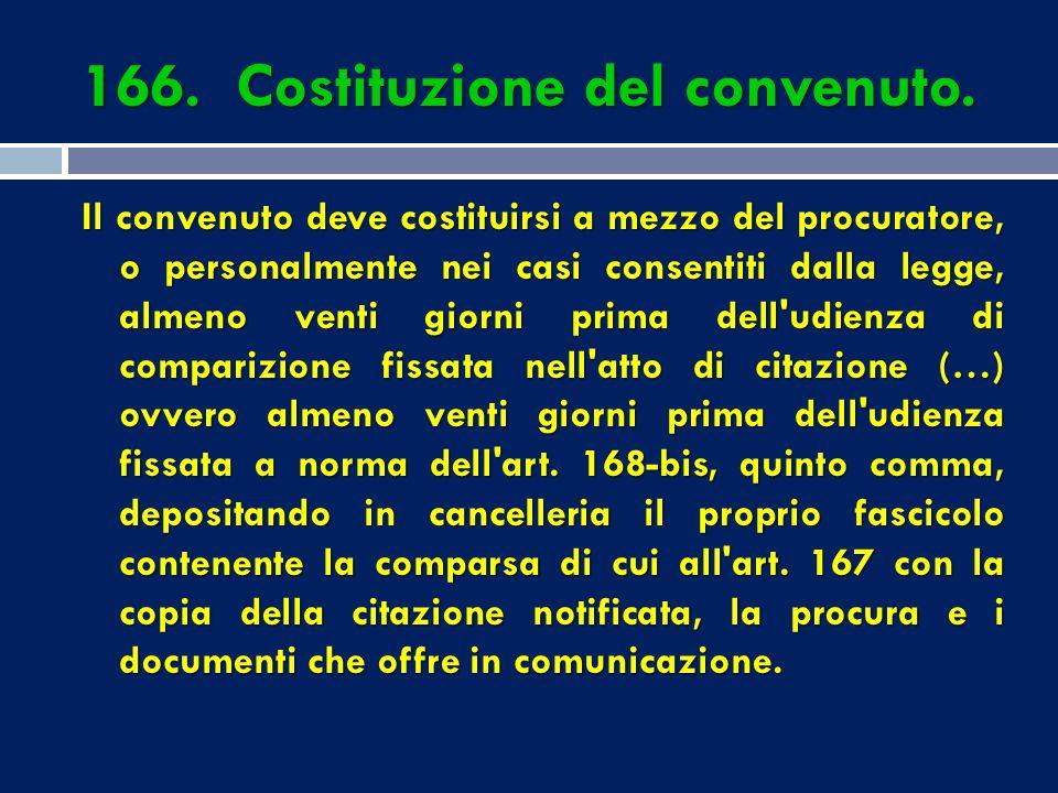 166. Costituzione del convenuto.