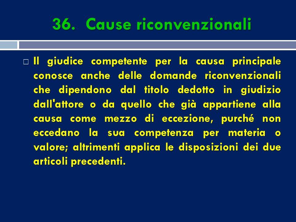 36. Cause riconvenzionali