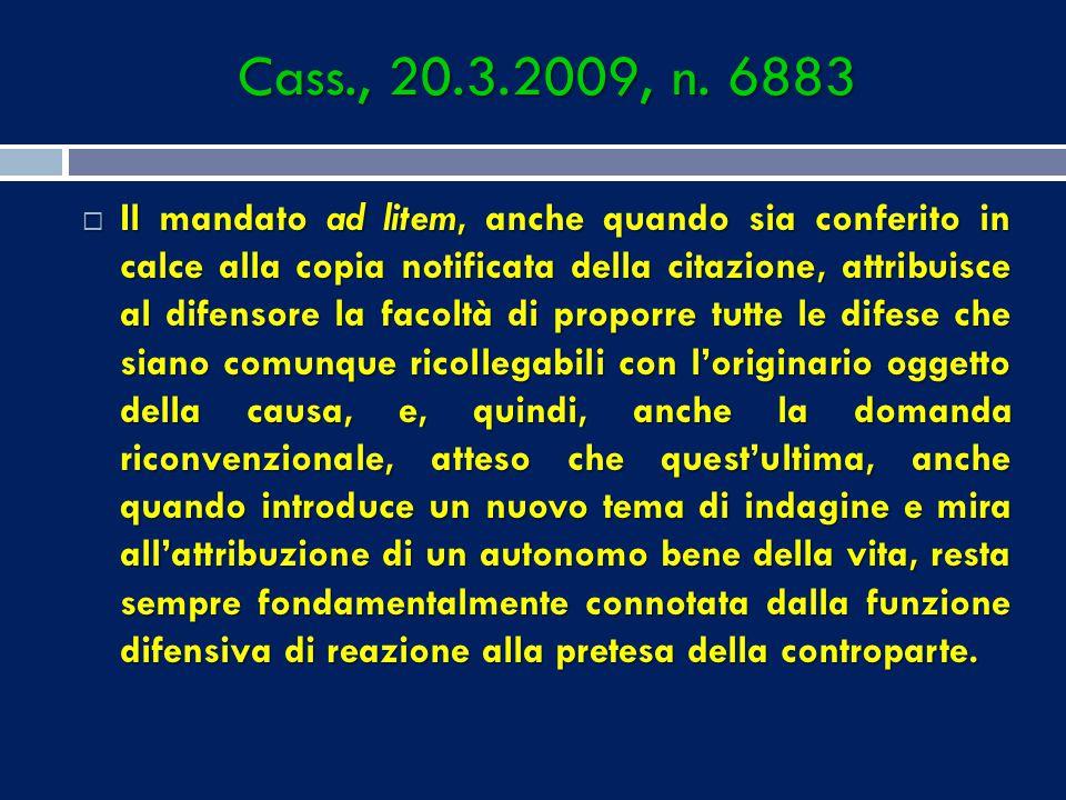 Cass., 20.3.2009, n. 6883