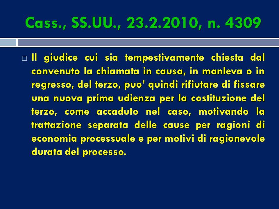 Cass., SS.UU., 23.2.2010, n. 4309