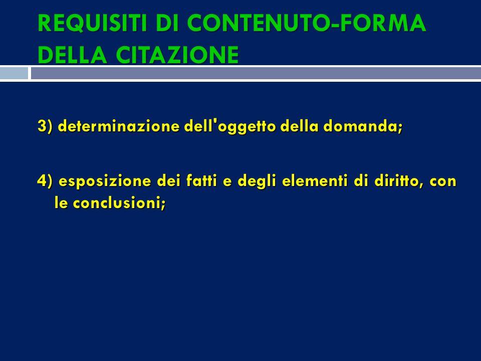 REQUISITI DI CONTENUTO-FORMA DELLA CITAZIONE