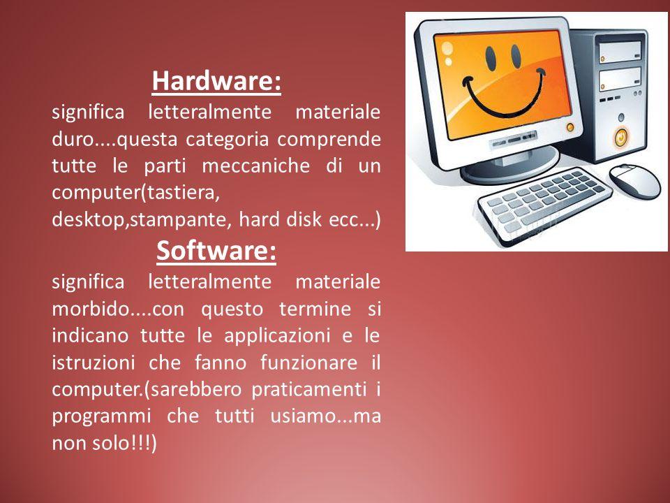 Hardware: significa letteralmente materiale duro