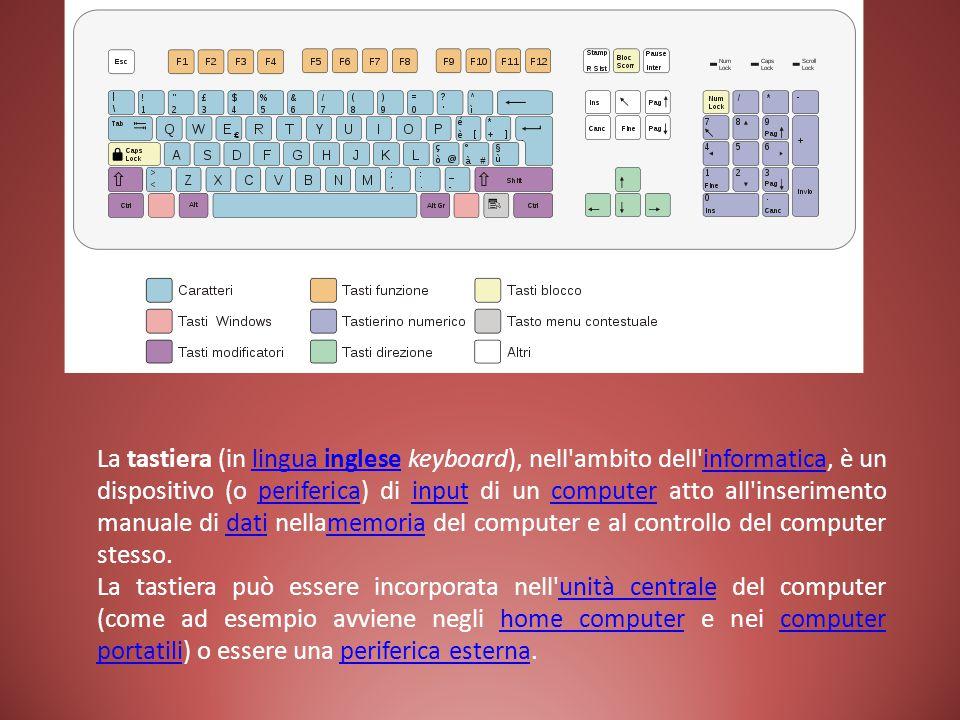 La tastiera (in lingua inglese keyboard), nell ambito dell informatica, è un dispositivo (o periferica) di input di un computer atto all inserimento manuale di dati nellamemoria del computer e al controllo del computer stesso.