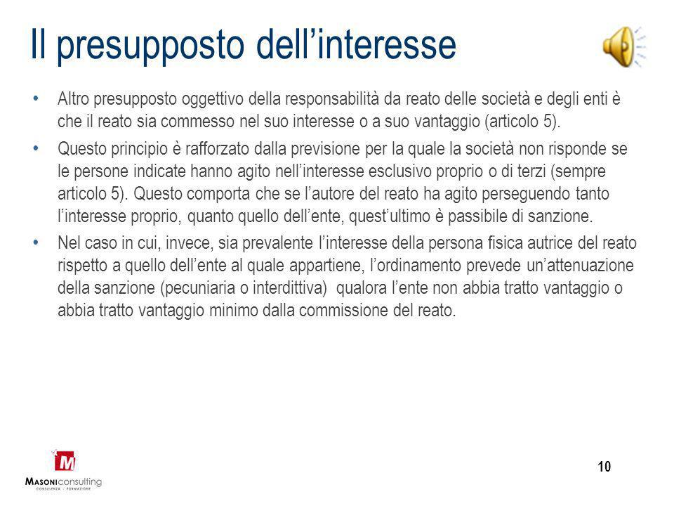 Il presupposto dell'interesse
