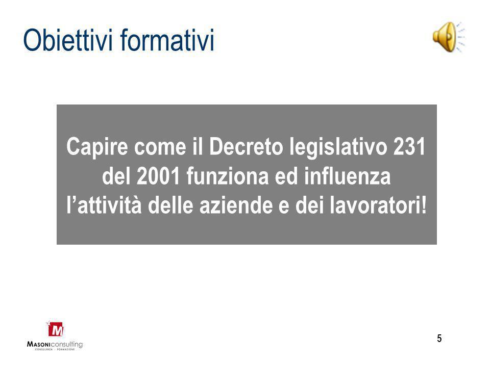 Obiettivi formativi Capire come il Decreto legislativo 231 del 2001 funziona ed influenza l'attività delle aziende e dei lavoratori!