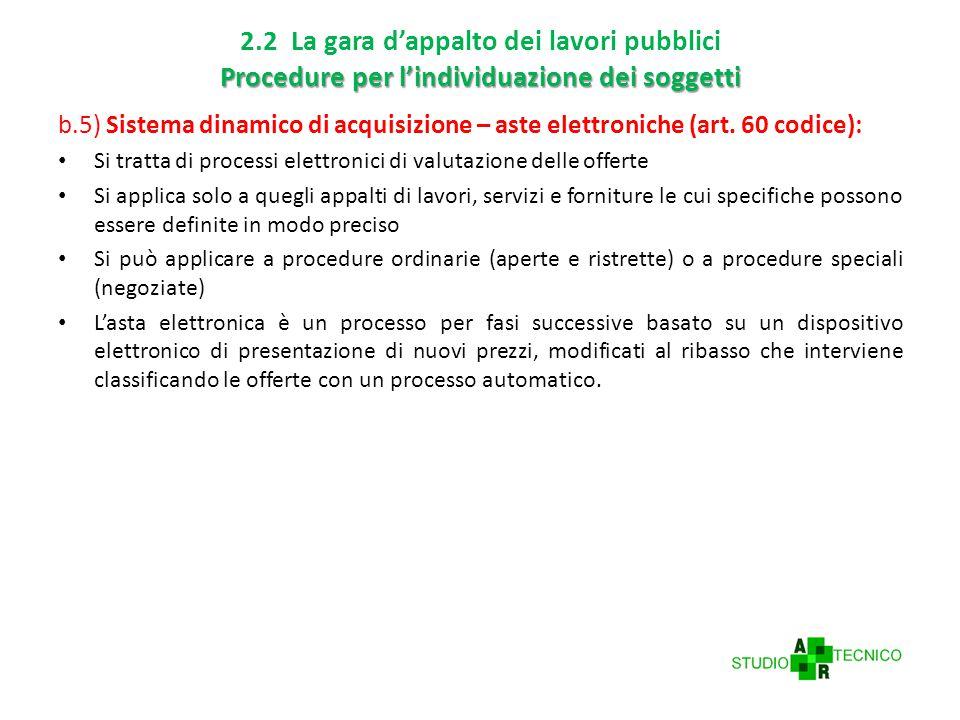 2.2 La gara d'appalto dei lavori pubblici Procedure per l'individuazione dei soggetti