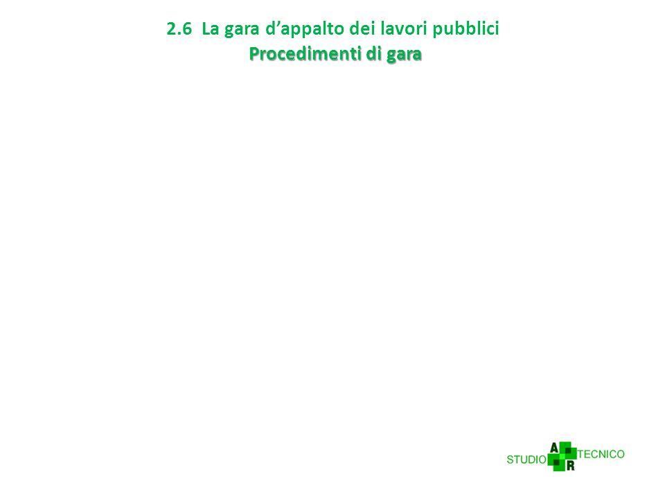 2.6 La gara d'appalto dei lavori pubblici Procedimenti di gara