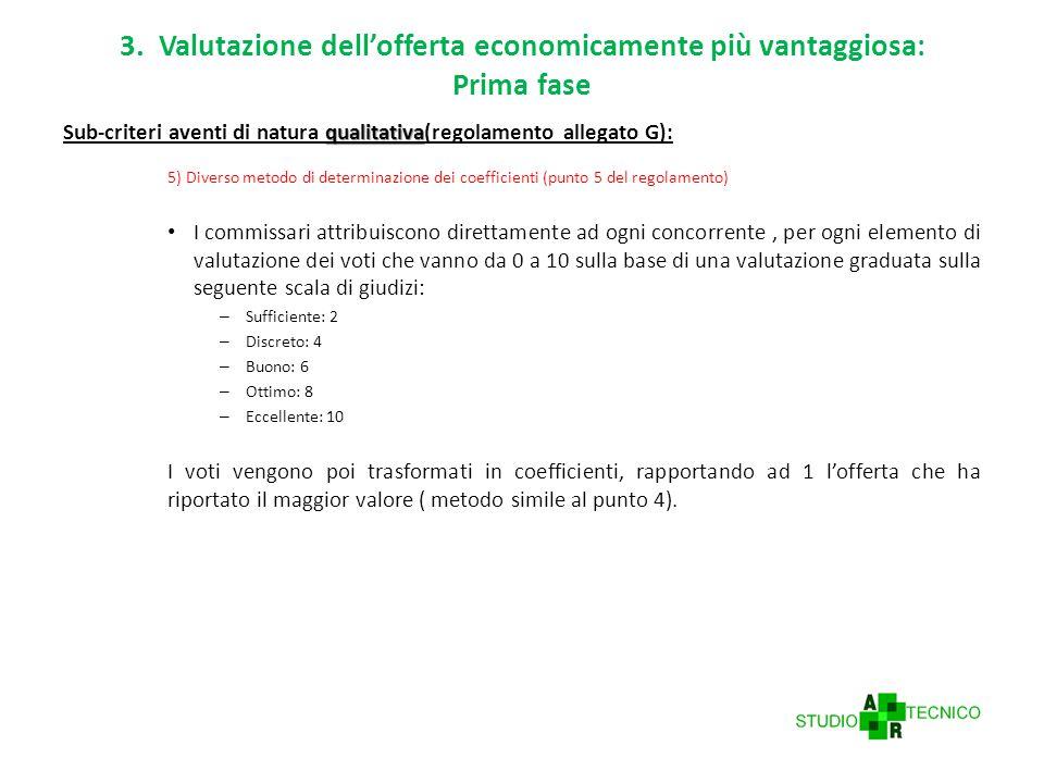 3. Valutazione dell'offerta economicamente più vantaggiosa: Prima fase