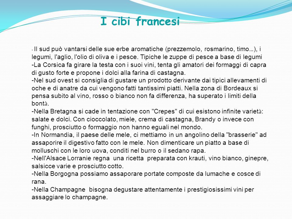 I cibi francesi