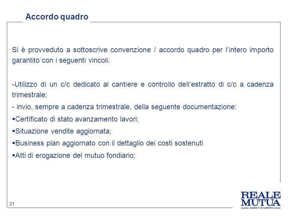 Accordo quadro Si è provveduto a sottoscrive convenzione / accordo quadro per l'intero importo garantito con i seguenti vincoli:
