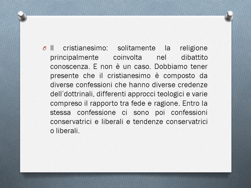 Il cristianesimo: solitamente la religione principalmente coinvolta nel dibattito conoscenza.