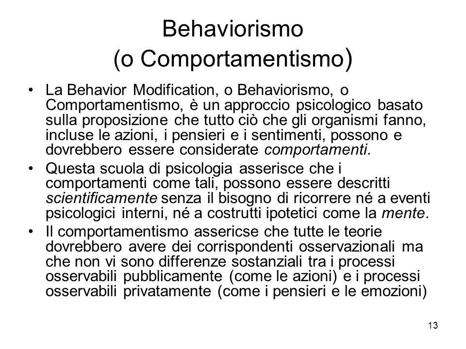 Behaviorismo (o Comportamentismo)