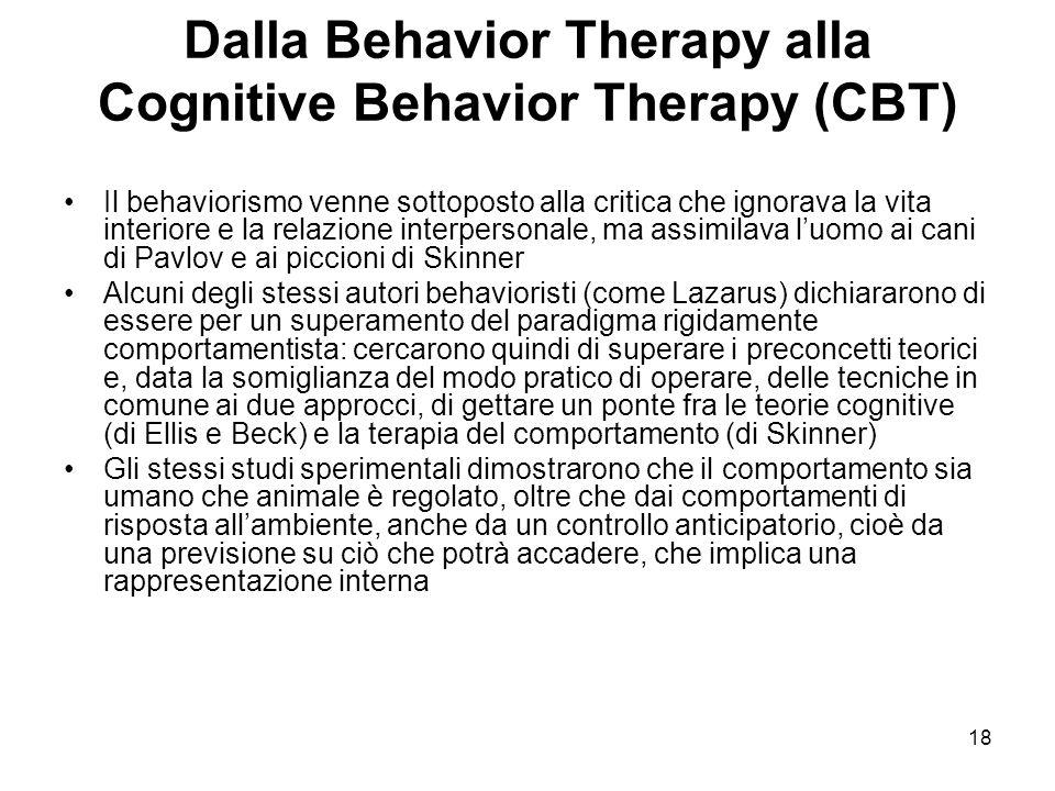 Dalla Behavior Therapy alla Cognitive Behavior Therapy (CBT)
