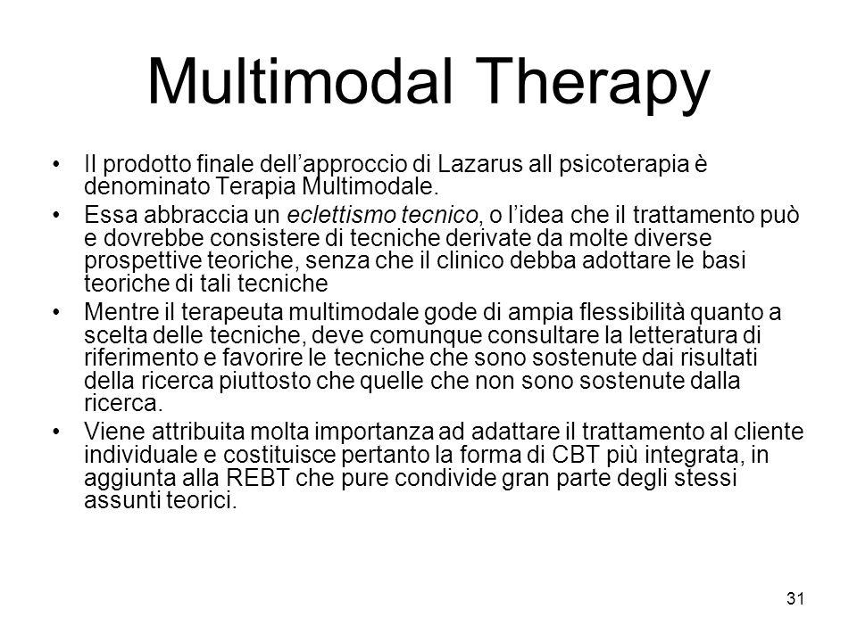 Multimodal Therapy Il prodotto finale dell'approccio di Lazarus all psicoterapia è denominato Terapia Multimodale.