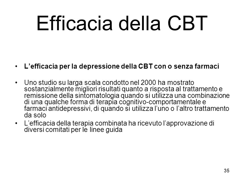 Efficacia della CBT L'efficacia per la depressione della CBT con o senza farmaci.