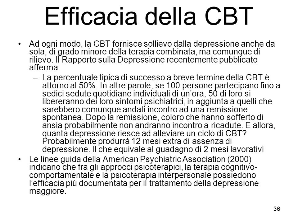 Efficacia della CBT