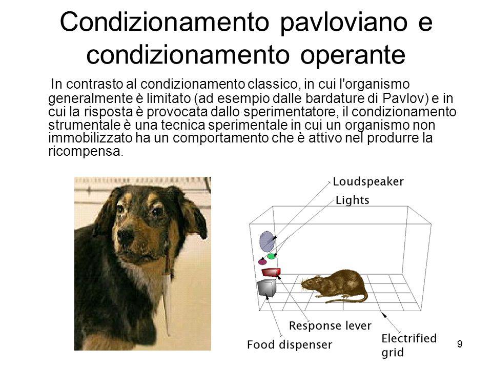 Condizionamento pavloviano e condizionamento operante