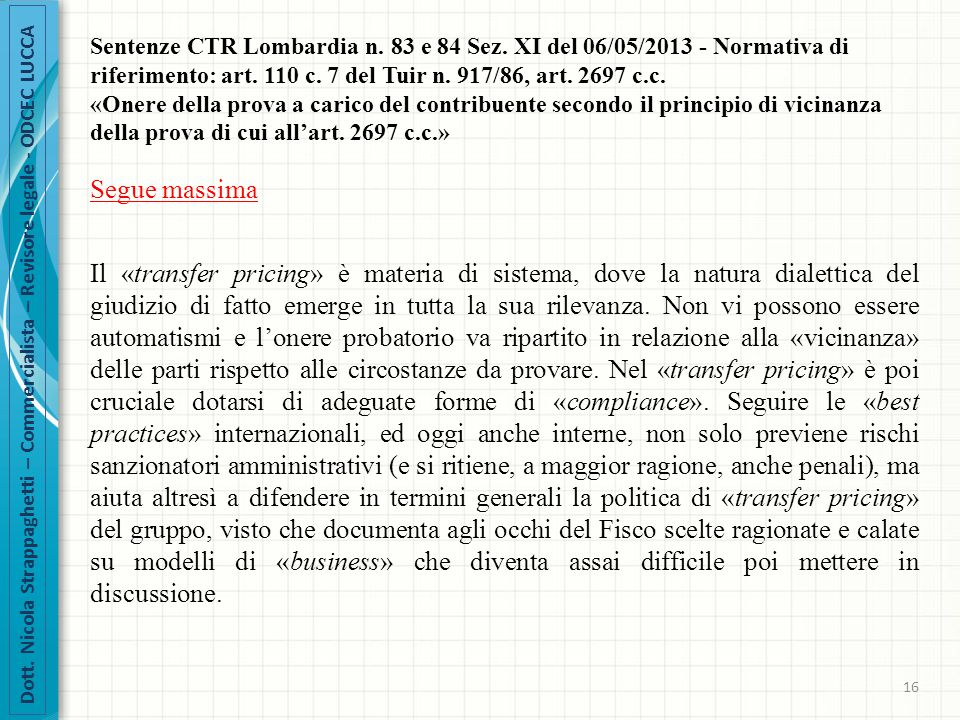 Sentenze CTR Lombardia n. 83 e 84 Sez