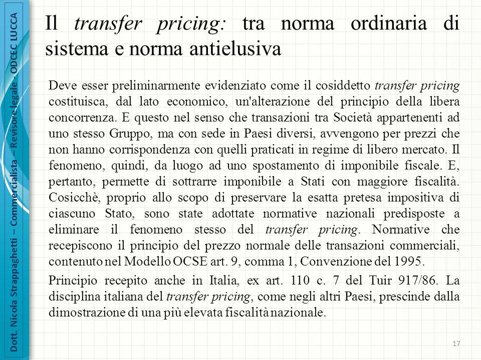 Il transfer pricing: tra norma ordinaria di sistema e norma antielusiva