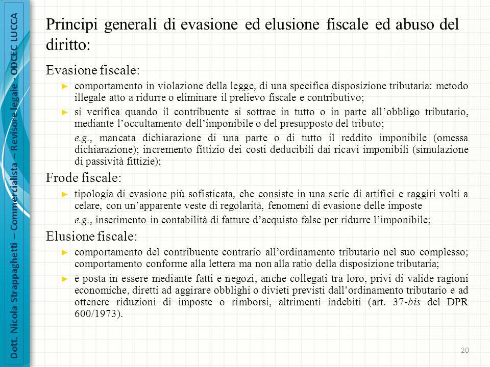 Principi generali di evasione ed elusione fiscale ed abuso del diritto: