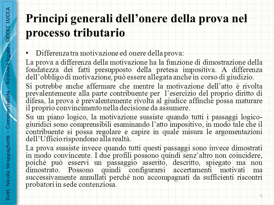 Principi generali dell'onere della prova nel processo tributario