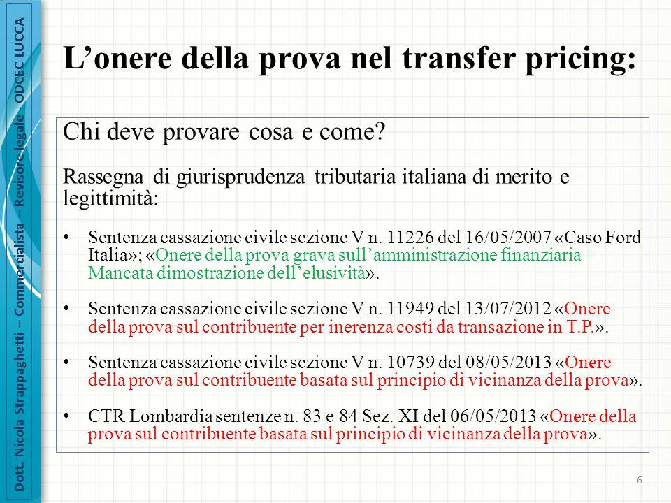 L'onere della prova nel transfer pricing: