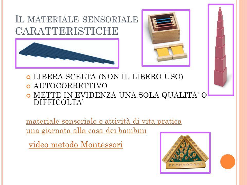 Il materiale sensoriale CARATTERISTICHE
