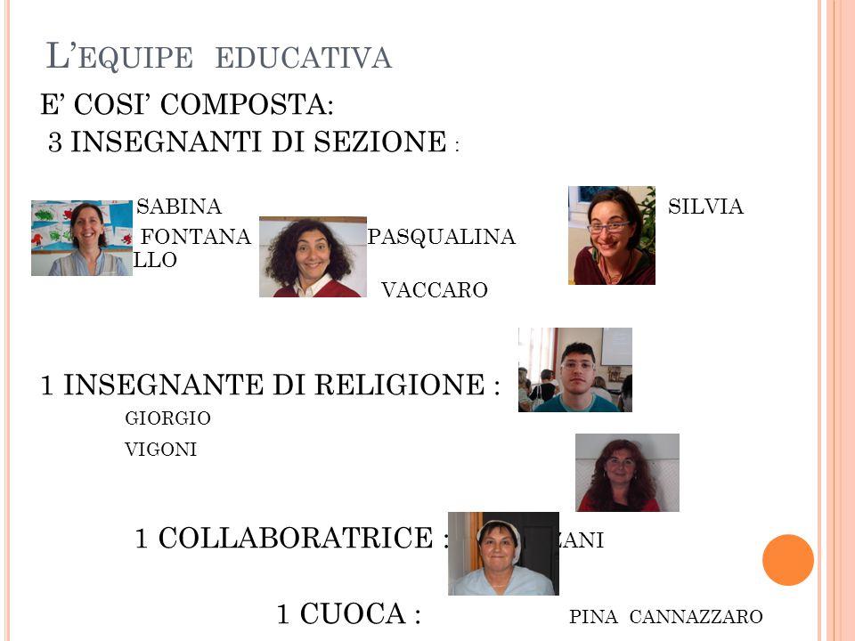 L'equipe educativa E' COSI' COMPOSTA: 3 INSEGNANTI DI SEZIONE :