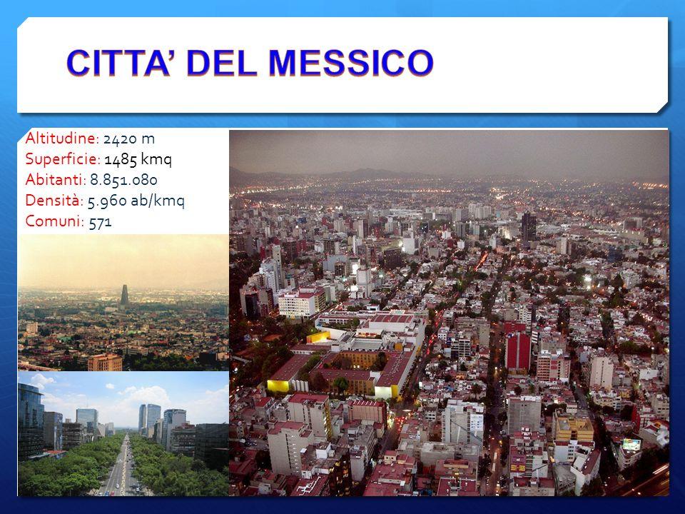 CITTA' DEL MESSICO Altitudine: 2420 m Superficie: 1485 kmq