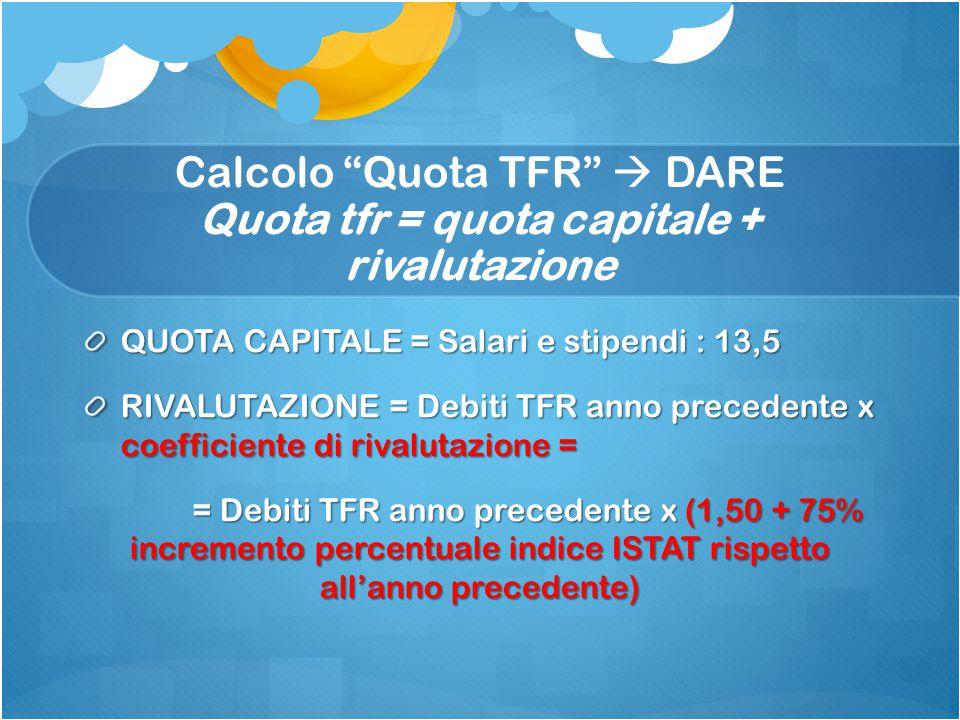Calcolo Quota TFR  DARE Quota tfr = quota capitale + rivalutazione