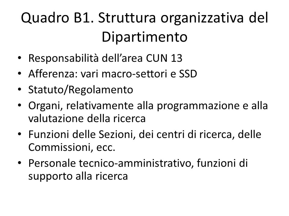 Quadro B1. Struttura organizzativa del Dipartimento