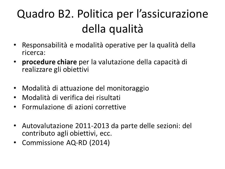 Quadro B2. Politica per l'assicurazione della qualità