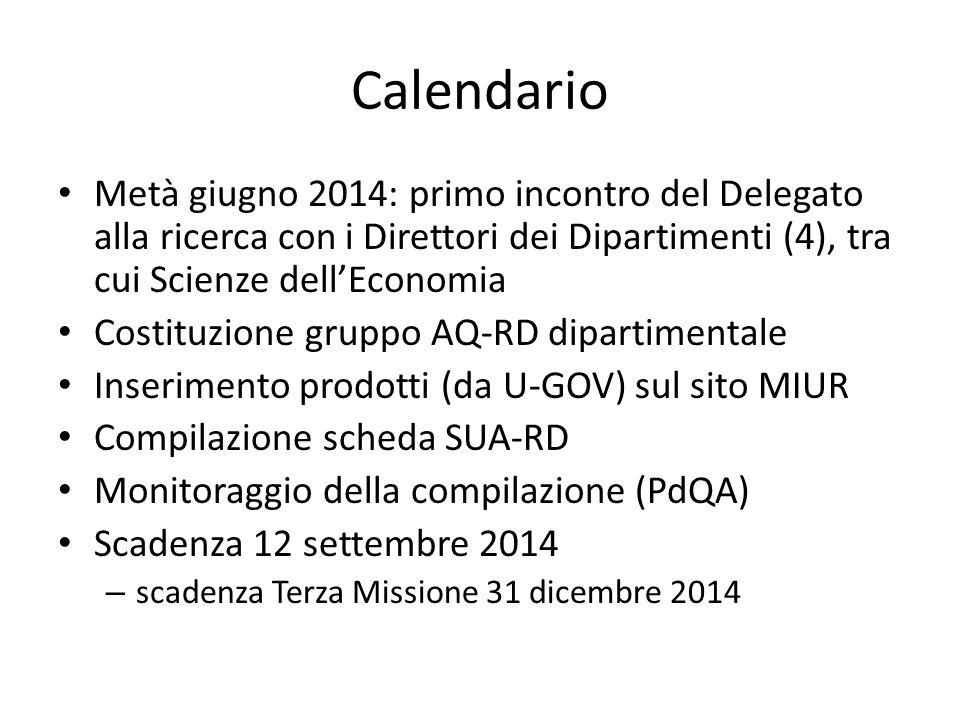 Calendario Metà giugno 2014: primo incontro del Delegato alla ricerca con i Direttori dei Dipartimenti (4), tra cui Scienze dell'Economia.