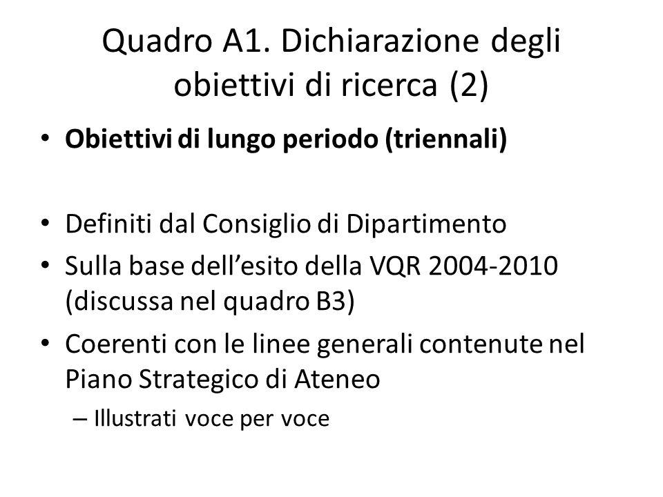 Quadro A1. Dichiarazione degli obiettivi di ricerca (2)
